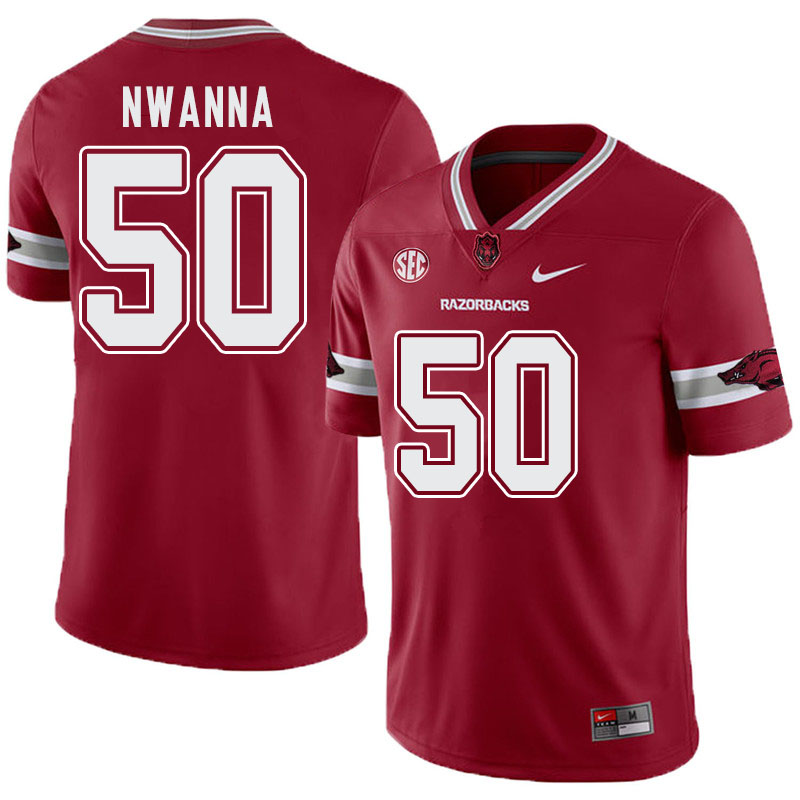 Men #50 Chibueze Nwanna Arkansas Razorbacks College Football Alternate Jerseys-Cardinal