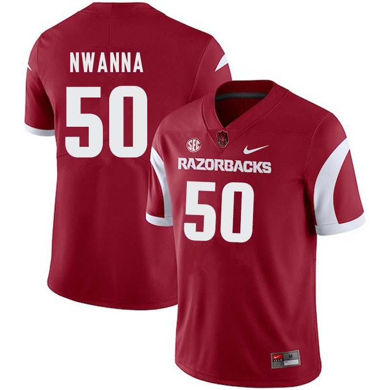 Men #50 Chibueze Nwanna Arkansas Razorbacks College Football Jerseys-Cardinal
