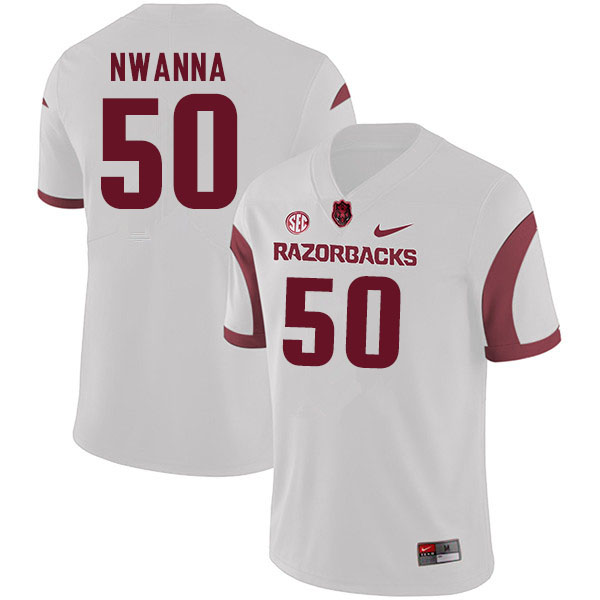 Men #50 Chibueze Nwanna Arkansas Razorbacks College Football Jerseys Sale-White