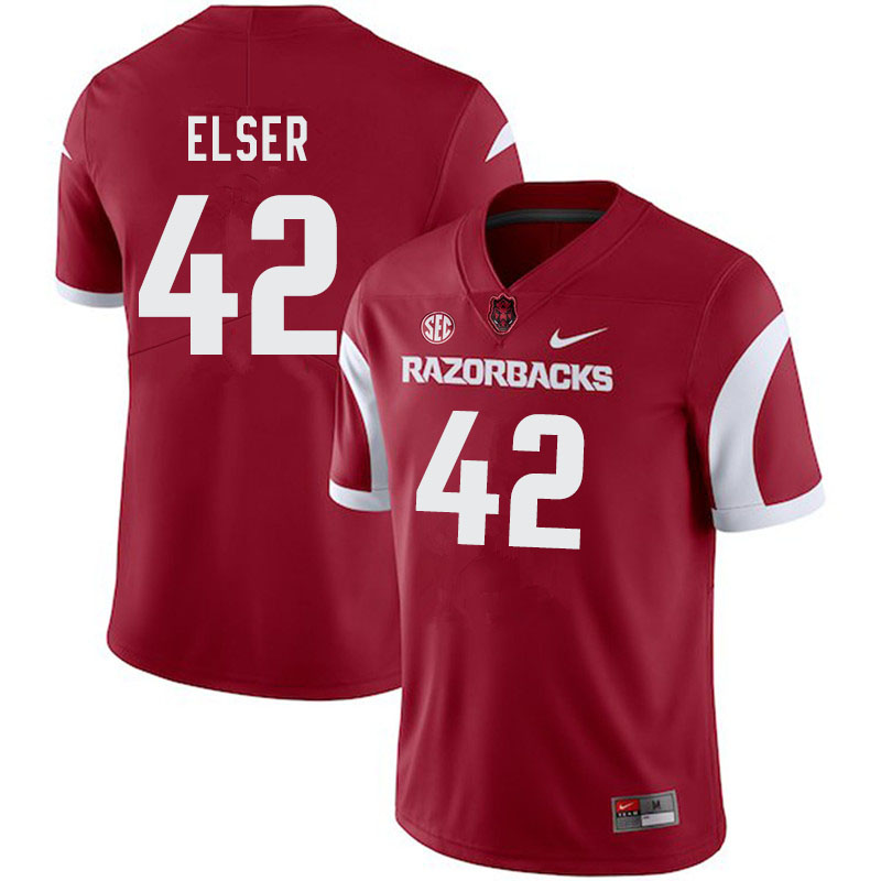 Men #42 Chris Elser Arkansas Razorbacks College Football Jerseys-Cardinal
