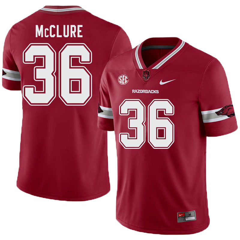 Men #36 D'Vone McClure Arkansas Razorbacks College Football Alternate Jerseys-Cardinal