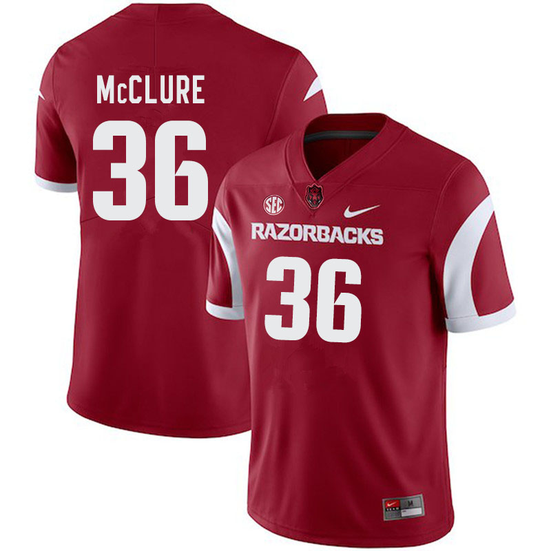 Men #36 D'Vone McClure Arkansas Razorbacks College Football Jerseys-Cardinal