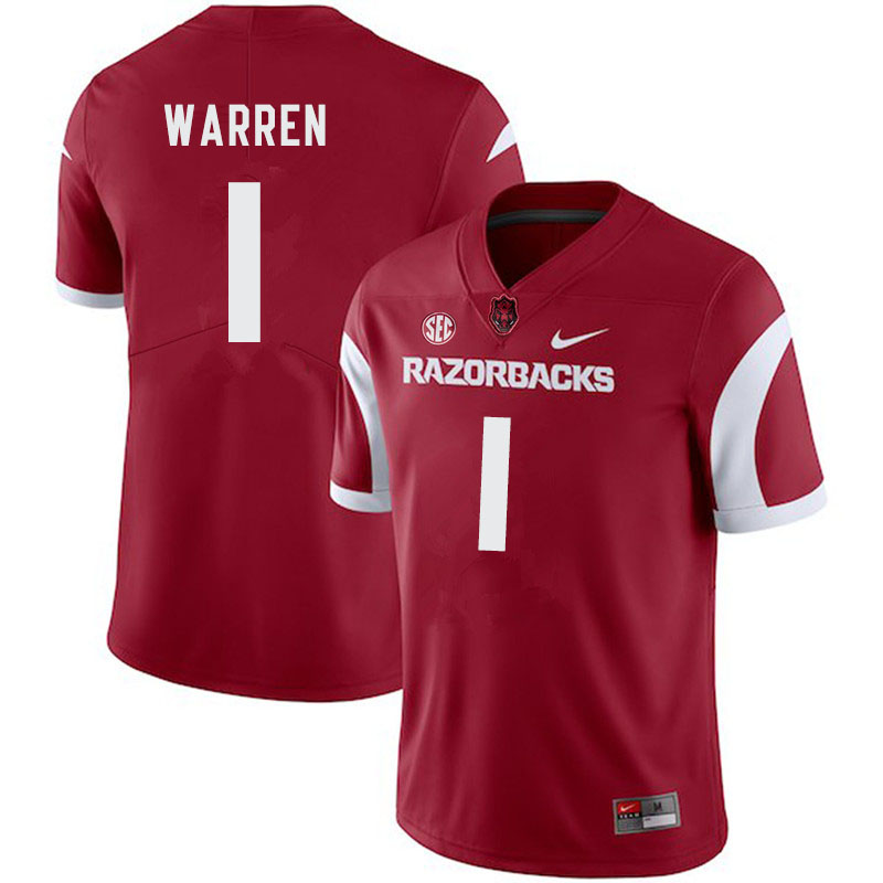 Men #1 De'Vion Warren Arkansas Razorbacks College Football Jerseys-Cardinal