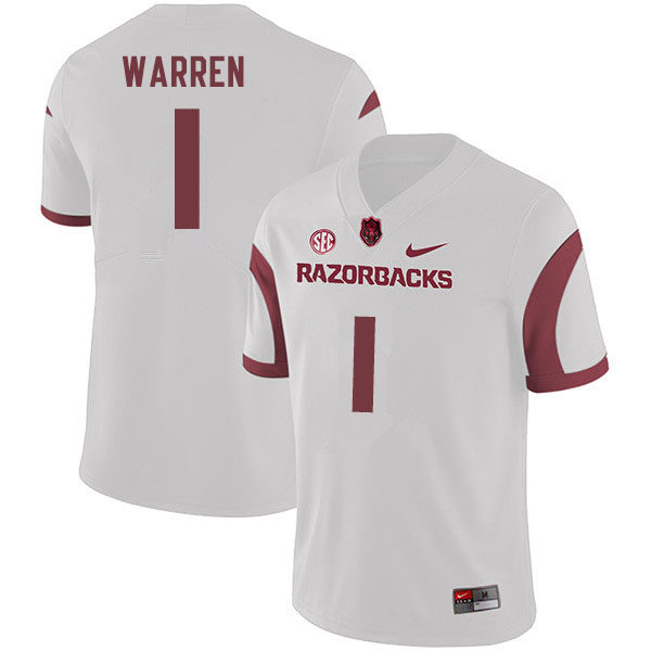 Men #1 De'Vion Warren Arkansas Razorbacks College Football Jerseys Sale-White