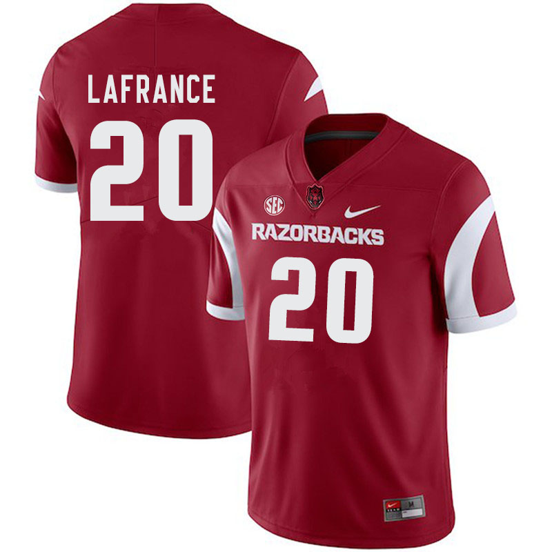 Men #20 Giovanni LaFrance Arkansas Razorbacks College Football Jerseys-Cardinal