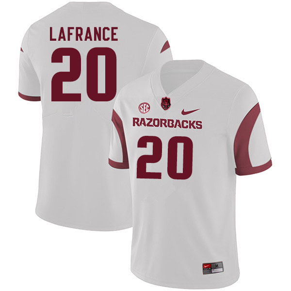 Men #20 Giovanni LaFrance Arkansas Razorbacks College Football Jerseys Sale-White