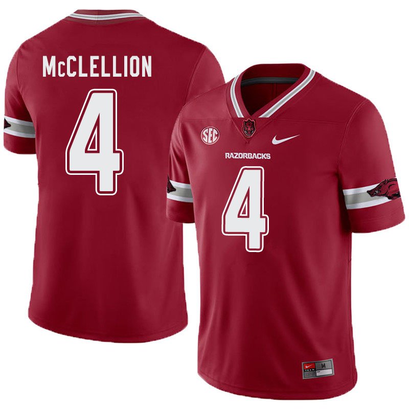 Men #4 Jarques McClellion Arkansas Razorbacks College Football Alternate Jerseys-Cardinal