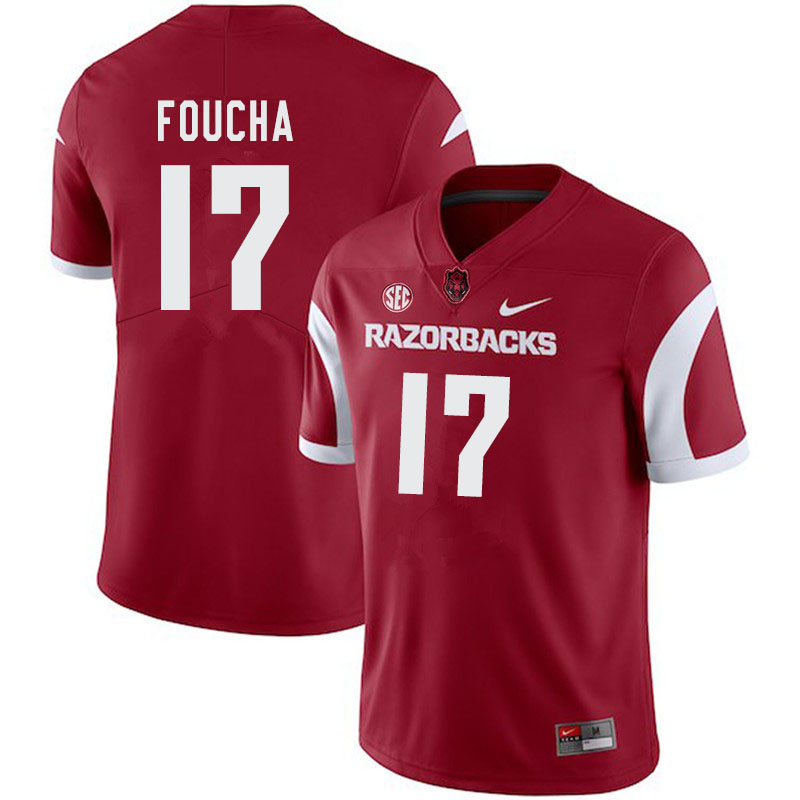 Men #17 Joe Foucha Arkansas Razorbacks College Football Jerseys-Cardinal