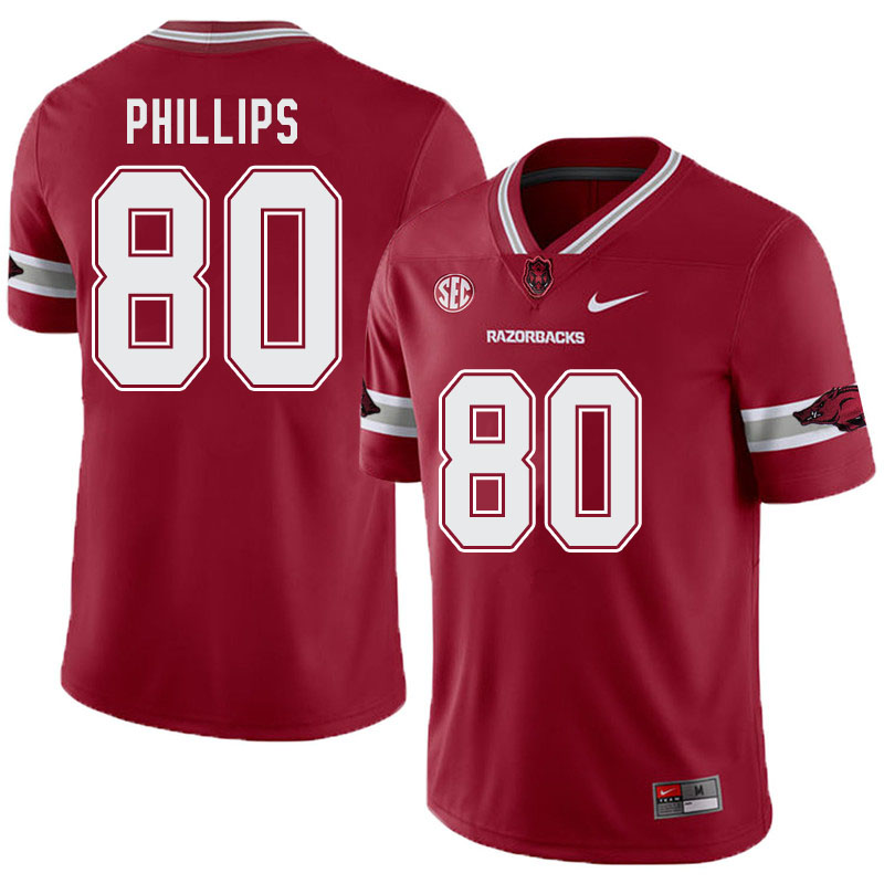 Men #80 Matthew Phillips Arkansas Razorbacks College Football Alternate Jerseys-Cardinal