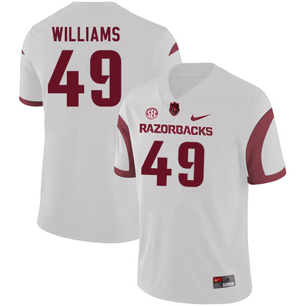 Men #49 McKinley Williams Arkansas Razorbacks College Football Jerseys Sale-White
