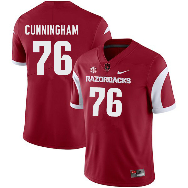 Men #76 Myron Cunningham Arkansas Razorbacks College Football Jerseys-Cardinal