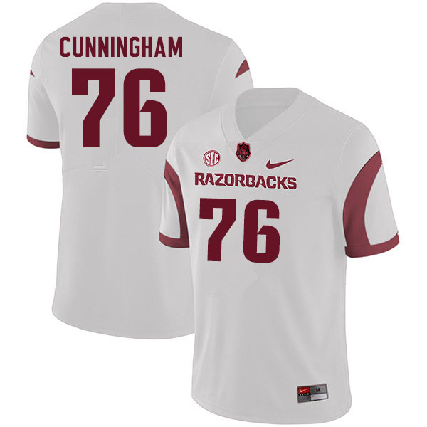 Men #76 Myron Cunningham Arkansas Razorbacks College Football Jerseys Sale-White