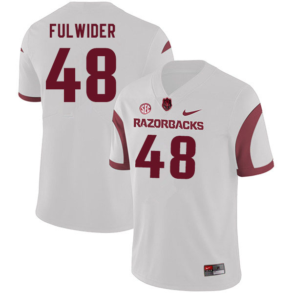 Men #48 Nicholas Fulwider Arkansas Razorbacks College Football Jerseys Sale-White