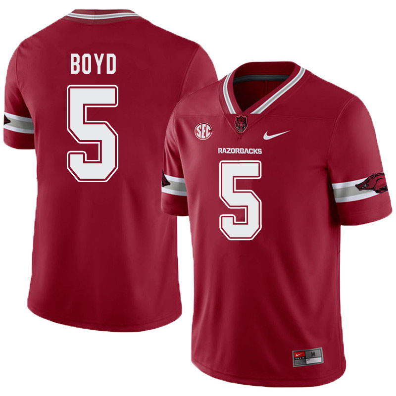 Men #5 Rakeem Boyd Arkansas Razorbacks College Football Alternate Jerseys-Cardinal