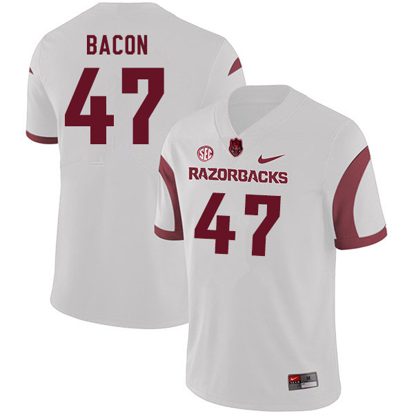 Men #47 Reid Bacon Arkansas Razorbacks College Football Jerseys Sale-White