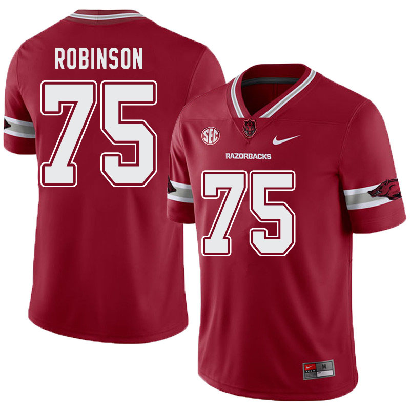 Men #75 Silas Robinson Arkansas Razorbacks College Football Alternate Jerseys-Cardinal