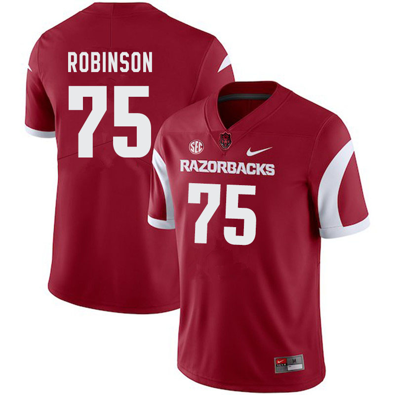 Men #75 Silas Robinson Arkansas Razorbacks College Football Jerseys-Cardinal