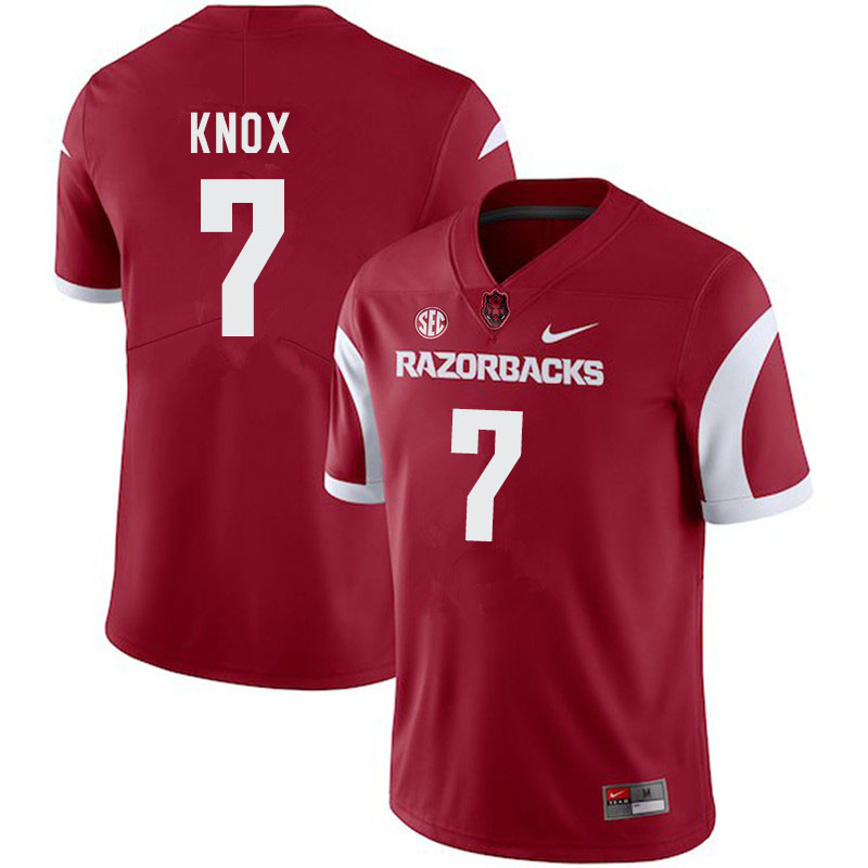 Men #7 Trey Knox Arkansas Razorbacks College Football Jerseys-Cardinal