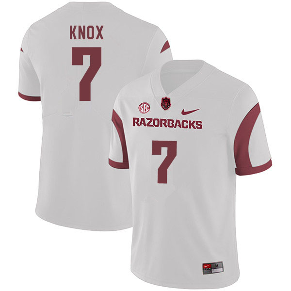 Men #7 Trey Knox Arkansas Razorbacks College Football Jerseys Sale-White