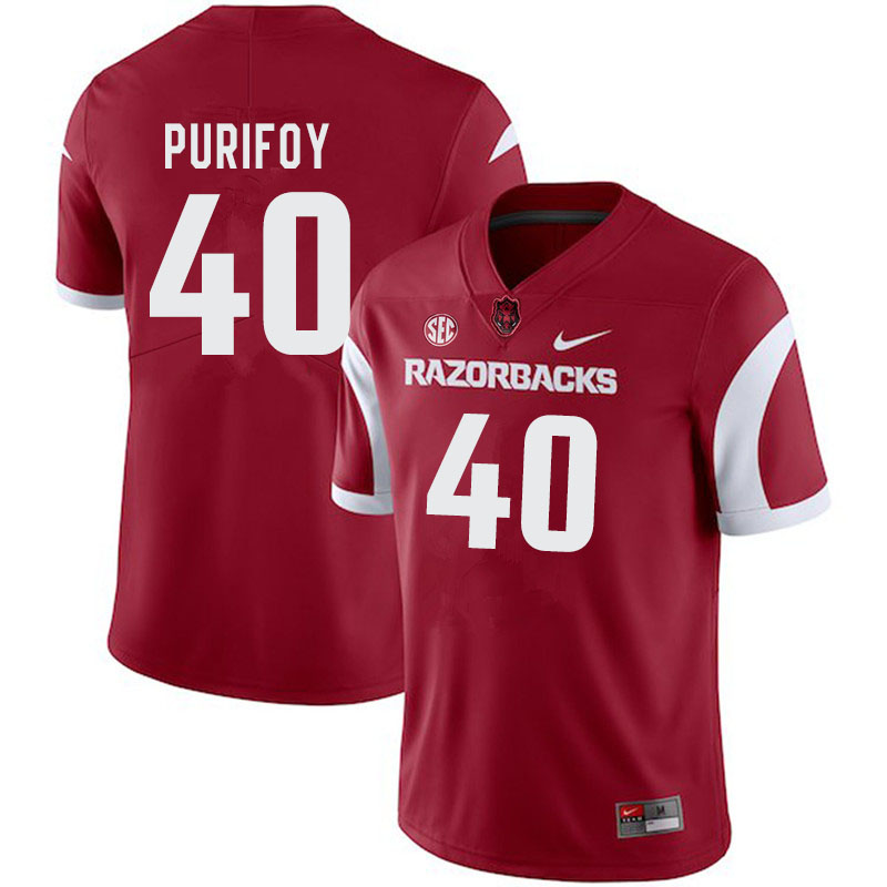 Men #40 Trey Purifoy Arkansas Razorbacks College Football Jerseys-Cardinal