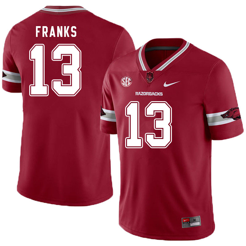 Men #13 Feleipe Franks Arkansas Razorbacks College Football Jerseys Sale-Alternate Cardinal