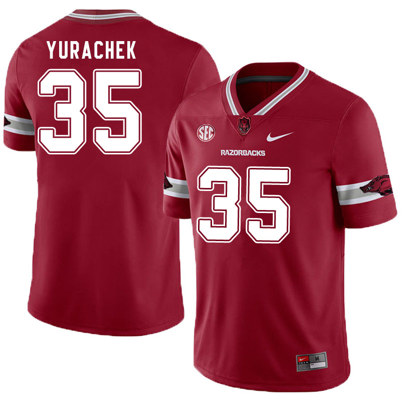 Men #35 Jake Yurachek Arkansas Razorbacks College Football Jerseys Sale-Alternate Cardinal