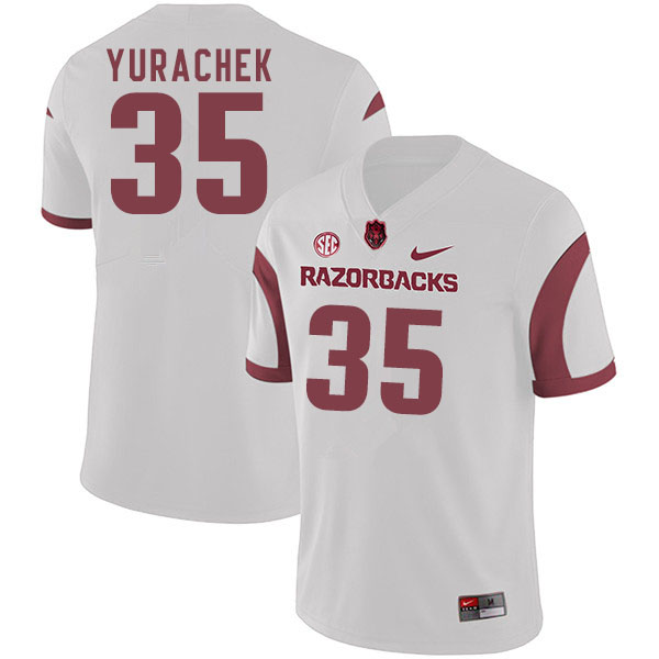 Men #35 Jake Yurachek Arkansas Razorbacks College Football Jerseys Sale-White