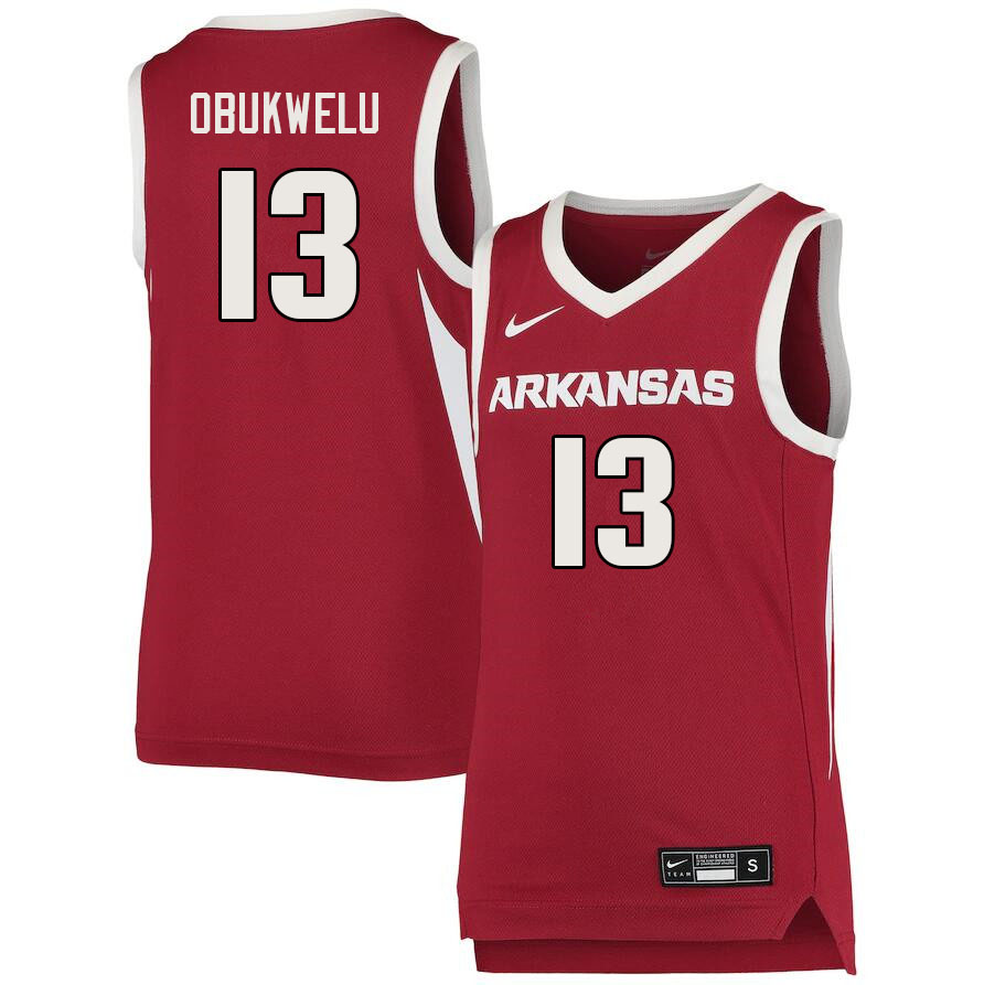 Men #13 Emeka Obukwelu Arkansas Razorbacks College Basketball Jerseys Sale-Cardinal