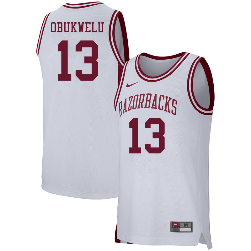 Men #13 Emeka Obukwelu Arkansas Razorbacks College Basketball Jerseys Sale-White