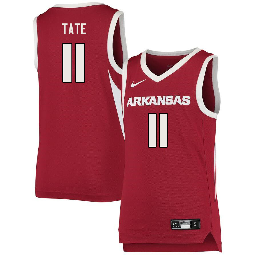 Men #11 Jalen Tate Arkansas Razorbacks College Basketball Jerseys Sale-Cardinal