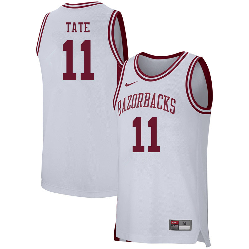 Men #11 Jalen Tate Arkansas Razorbacks College Basketball Jerseys Sale-White