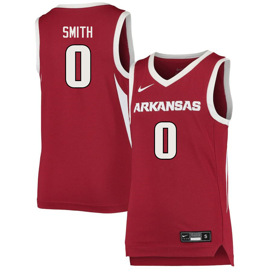 Men #0 Justin Smith Arkansas Razorbacks College Basketball Jerseys Sale-Cardinal