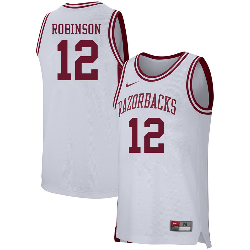 Men #12 Khalen Robinson Arkansas Razorbacks College Basketball Jerseys Sale-White