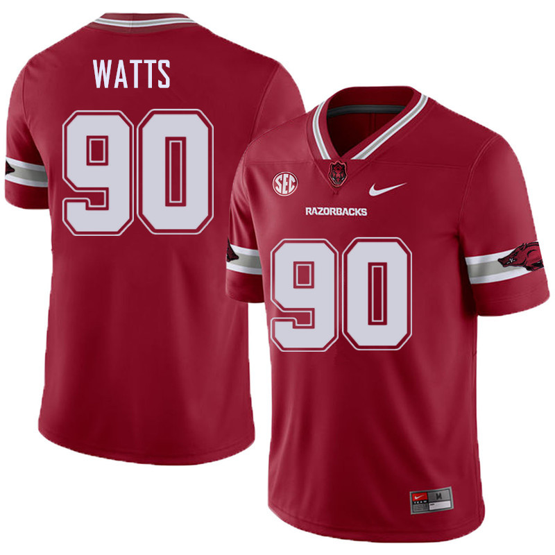 Men #90 Armon Watts Arkansas Razorback College Football Alternate Jerseys Sale-Cardinal