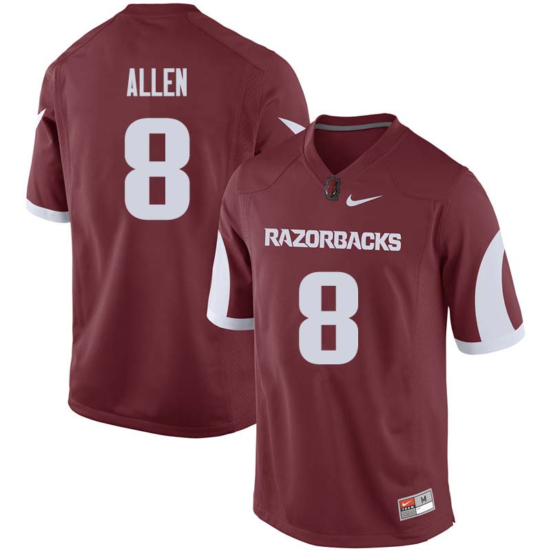 Men #8 Austin Allen Arkansas Razorback College Football Jerseys Sale-Cardinal