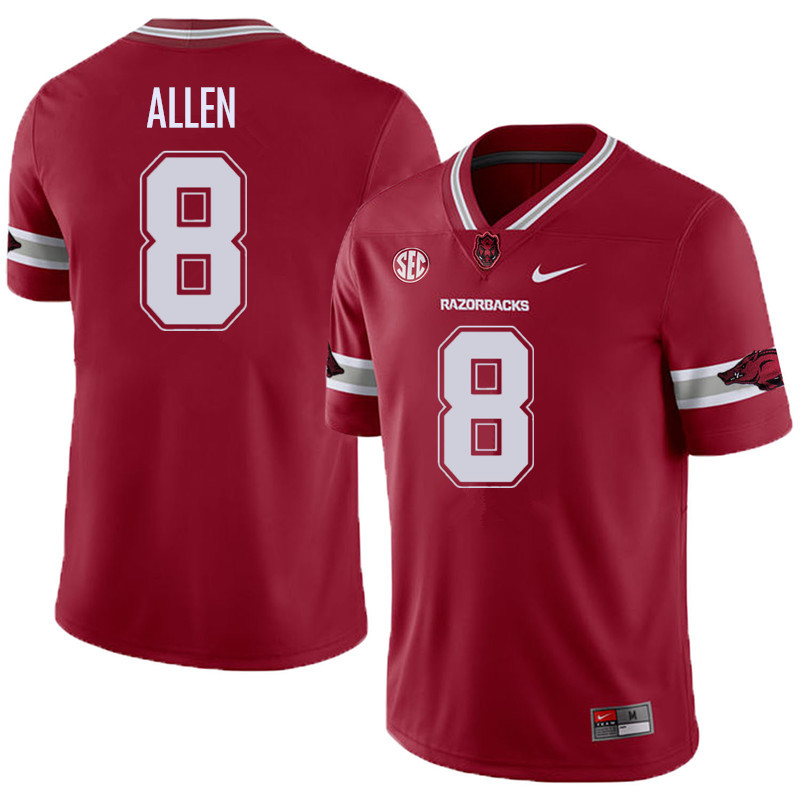 Men #8 Austin Allen Arkansas Razorback College Football Alternate Jerseys Sale-Cardinal