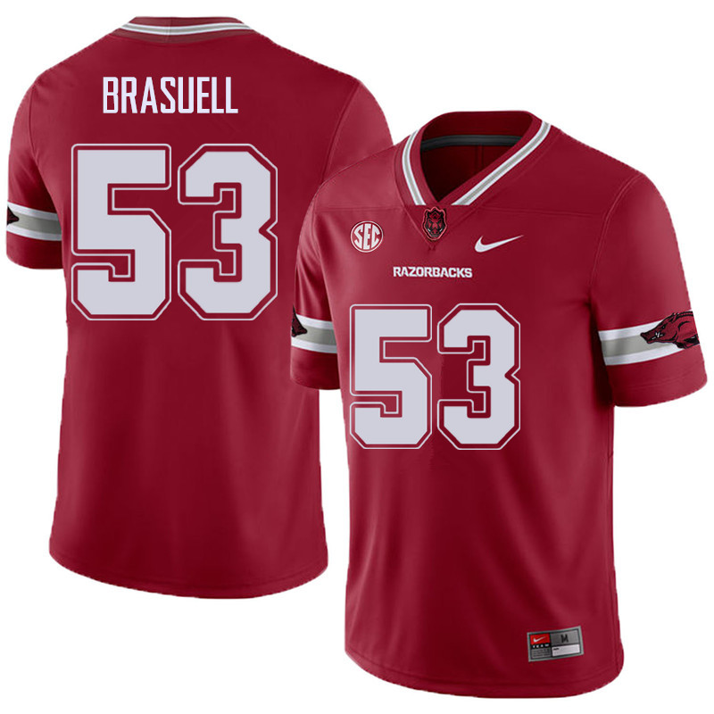 Men #53 Ben Brasuell Arkansas Razorback College Football Alternate Jerseys Sale-Cardinal