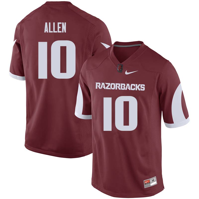 Men #10 Brandon Allen Arkansas Razorback College Football Jerseys Sale-Cardinal