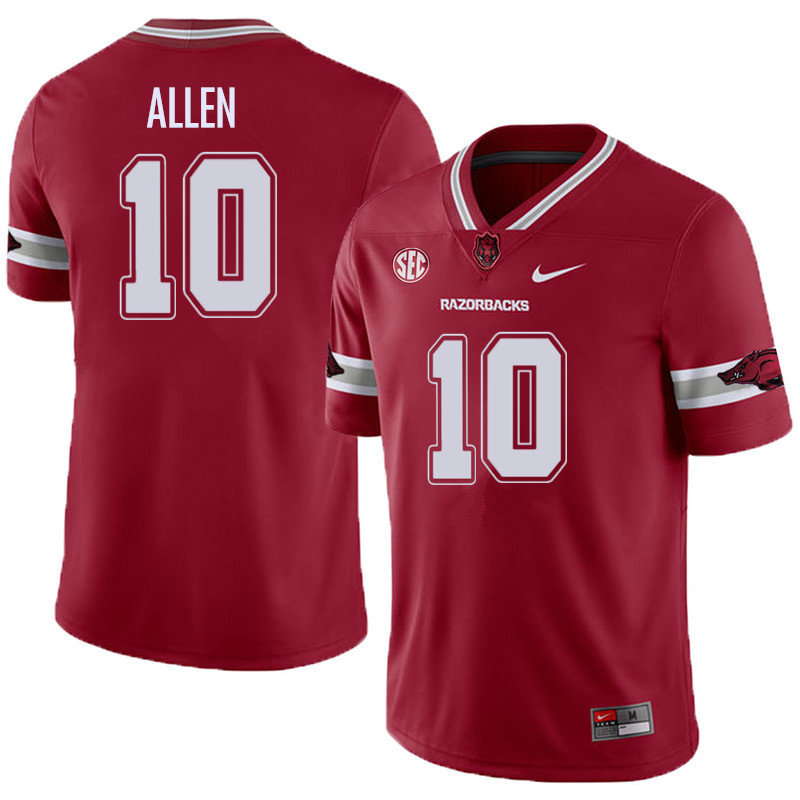 Men #10 Brandon Allen Arkansas Razorback College Football Alternate Jerseys Sale-Cardinal