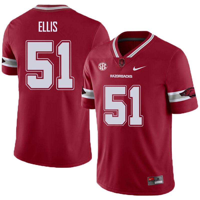 Men #51 Brooks Ellis Arkansas Razorback College Football Alternate Jerseys Sale-Cardinal