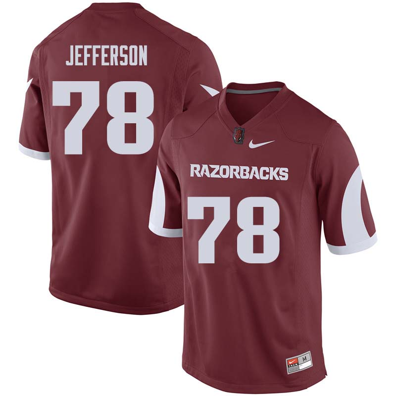 Men #78 Cameron Jefferson Arkansas Razorback College Football Jerseys Sale-Cardinal