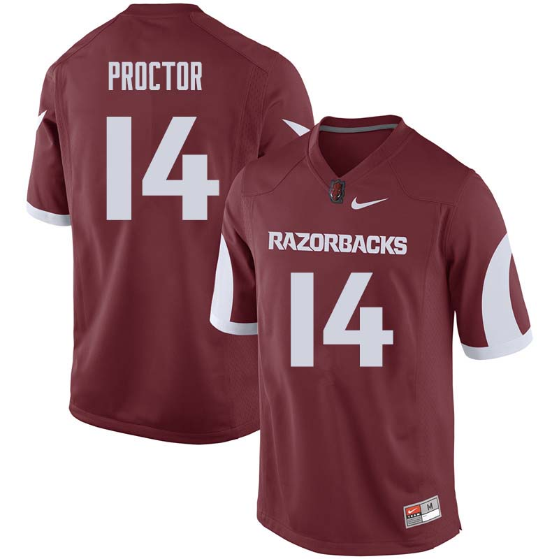 Men #14 Carson Proctor Arkansas Razorback College Football Jerseys Sale-Cardinal
