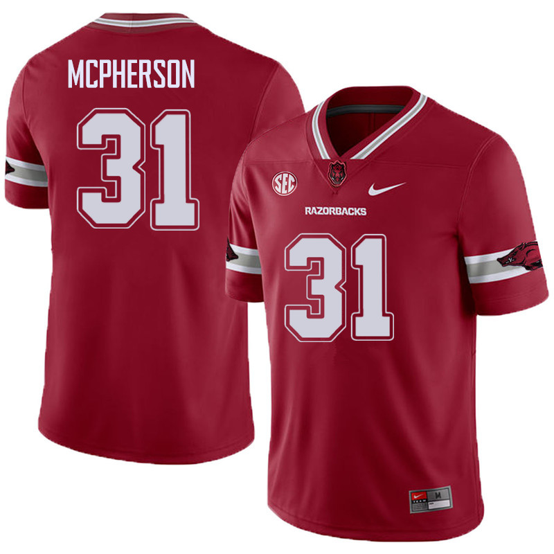 Men #31 Connor McPherson Arkansas Razorback College Football Alternate Jerseys Sale-Cardinal