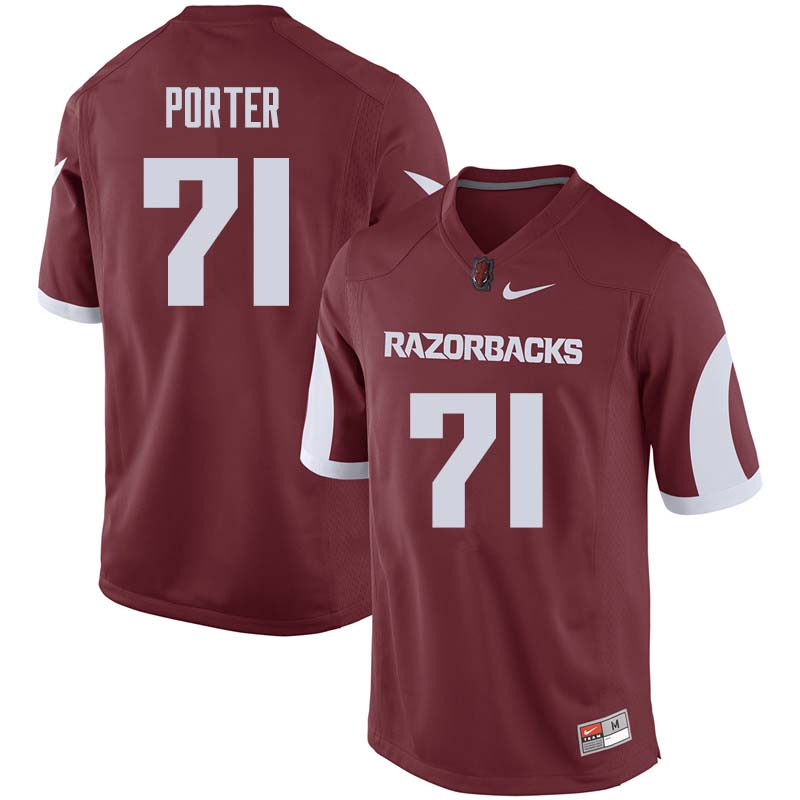 Men #71 David Porter Arkansas Razorback College Football Jerseys Sale-Cardinal