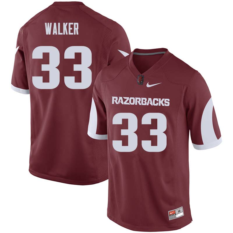 Men #33 Dee Walker Arkansas Razorback College Football Jerseys Sale-Cardinal
