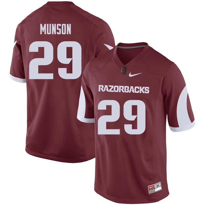 Men #29 Derrick Munson Arkansas Razorback College Football Jerseys Sale-Cardinal