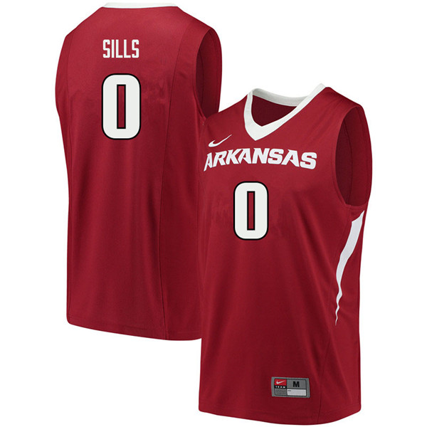 Men #0 Desi Sills Arkansas Razorbacks College Basketball Jerseys Sale-Cardinal