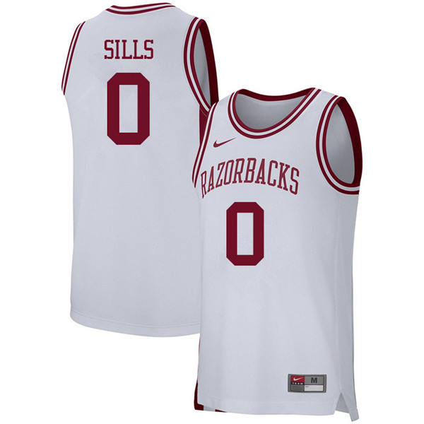Men #0 Desi Sills Arkansas Razorbacks College Basketball 39:39Jerseys Sale-White