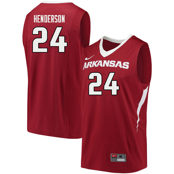 Men #24 Ethan Henderson Arkansas Razorbacks College Basketball Jerseys Sale-Cardinal