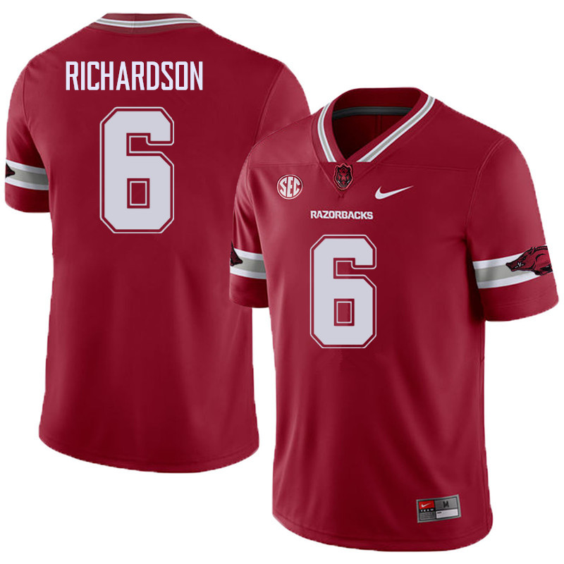 Men #6 Gabe Richardson Arkansas Razorback College Football Alternate Jerseys Sale-Cardinal